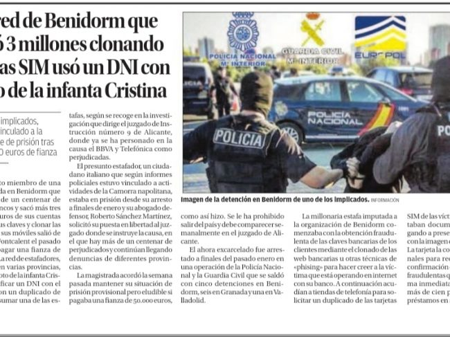 A network swindled 3 million by cloning SIM cards with a DNI with the photo of the Infanta Cristina