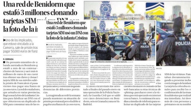 Levante Comunitat Valenciana, Una Red Estafó 3 Millones al Clonar Tarjetas SIM con un DNI con la Foto de la Infanta Cristina