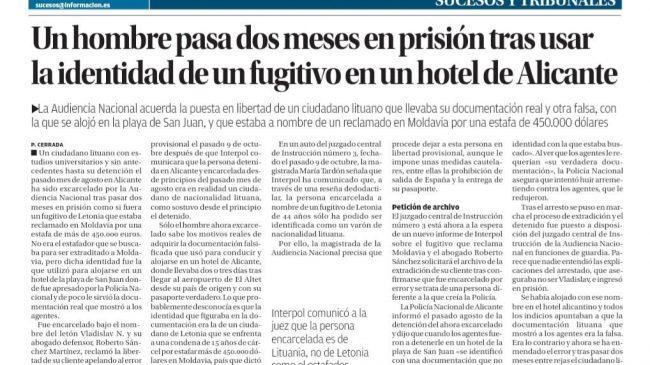 Un hombre pasa dos meses en prisión tras usar la identidad de un fugitivo en un hotel de Alicante