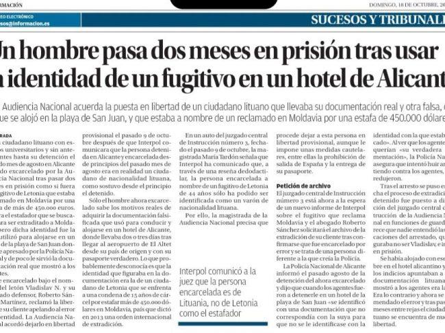 Un bărbat Petrece Două Luni de Inchisoare După ce a Folosit Identitatea unui Fugar într-un Hotel din Alicante